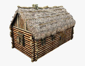 3D asset Wooden Thatch House