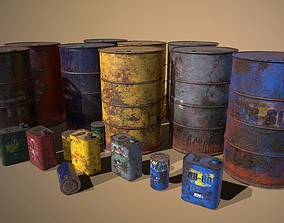 3D model Old - Rust Barrel and Tin Oil