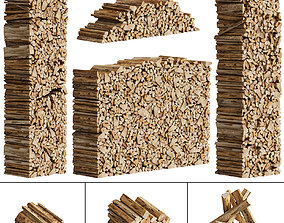 038 Firewood Logs 01 Packed Stacks low-poly 3d game-ready