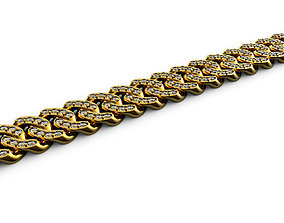 3D printable model Cuban Link with 3 mm Stones and 1