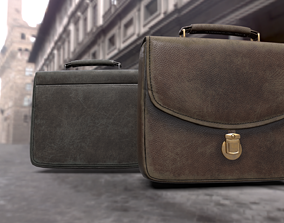 3D model Old used Leather briefcase 2 colors