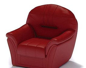 Red Leather Armchair couch 3D model