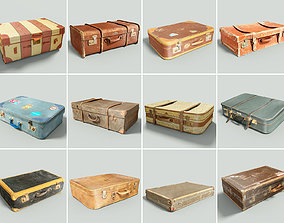 3D asset 12 Vintage Suitcases Retro Valise Collection