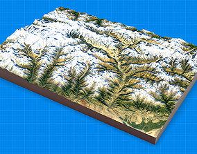 Mountain landscape 3D altitude