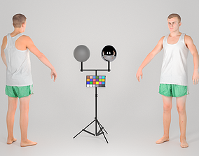 Man in a white tank top and shorts in A-pose 150 3D asset