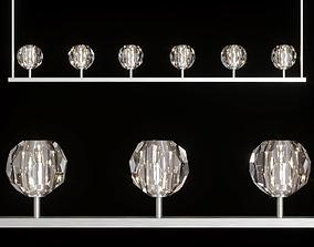 3D RH BOULE DE CRISTAL LINEAR CHANDELIER 60 Nickel