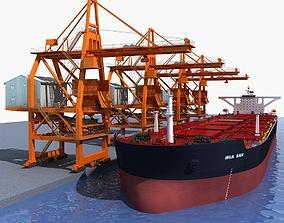 3D Ship unloader crane with Bulk carrier