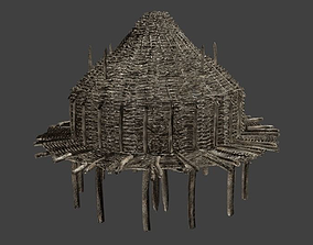 Prehistoric Wooden Hut 3D asset