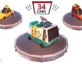 Low Poly Car Set Cartoon 34 Cars 3D asset