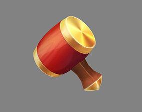 Cartoon tool - Golden hammer 3D model