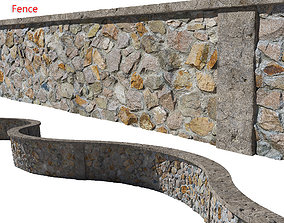 3D model Ultra realistic Stone fence