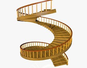 Spiral Wooden Stairs 3D model