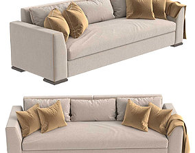 3D Custom three seat sofa in beige upholstery