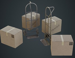 Hand Truck And Boxes 4B 3D model