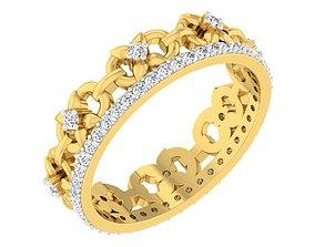 diamond 3D printable model Band Ring For Ladies