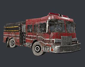 Vehicle Abandoned Wrecked Fire Truck Game Ready 3D asset