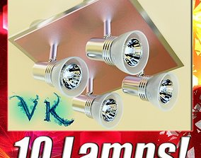 10 Halogen Lamp collection 3D model