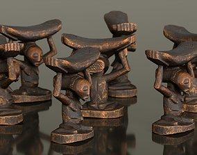 Headrest Africa Wood Furniture Prop 21 3D asset