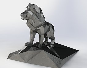 polygonal Lion on a stone model from sheet metal