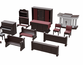 game-ready Church Furniture Asset Collection