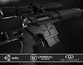 3D asset DVL-10 M2 URBANA and March Tactical 3-24x42 FFP