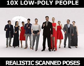 3D model 10x LOW POLY ELEGANT CASUAL PEOPLE VOL01 CROWD