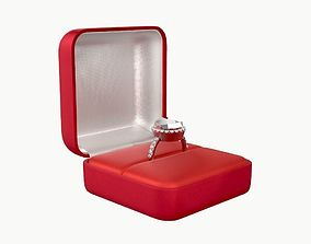 3D wedding ring in a square box