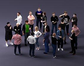 Set of 20X stylishly dressed people 3D