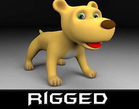 Cartoon rigged dog 3D model realtime