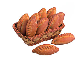 a basket of pastries 3D