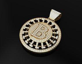Bitcoin full diamond pendant turnable 3D printable model