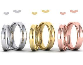 Wave Wedding Bands Comfort Fit design 3dmodels