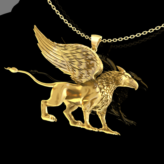 Griffin Pendant Jewelry Gold 3D print model