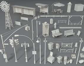 Street Elements - Part - 1 - 39 pieces 3D