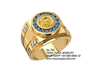 795 Korea Diamond Men ring 3D printable model
