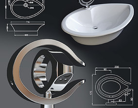 Single Lever Basin Mixer and Table Top Basin 3D model 2