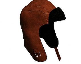 3D asset Hat Leather