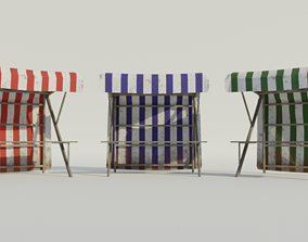 Medieval Market Stall - Low poly 3D asset