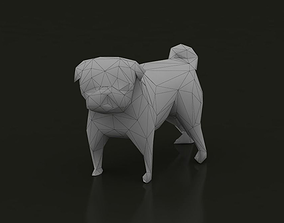 3D model Low Poly Dog Pug Puppy