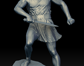 3D Male Warrior Statue