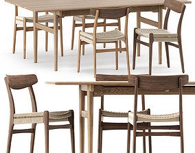 3D CH327 DINING TABLE and CH23 CHAIR by Carl Hansen and