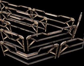 3D asset Modular Guardrail - sci fi architectural