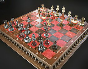 Chessboard and Chess Pieces 3D model