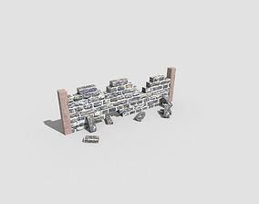 low poly broken wall 3D asset