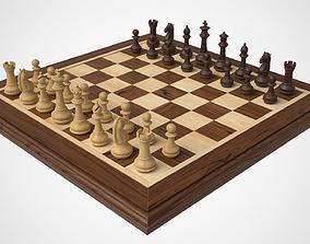 3D asset Wooden Chess Set