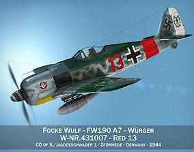 Focke Wulf - FW190 A7 - Red 13 3D model