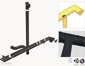 Old Black Gutter System PBR 3D asset