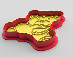 Cookie cutter and stamp - Bear 2 and heart 3D print model