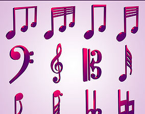 animated 3D Musical Notes Symbols 55 pcs