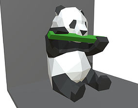 games panda figure low poly 3D printable model